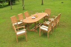A-grade Teak 9pc Dining 94 Mas Oval Table Wave Stacking Arm Chair Set Outdoor