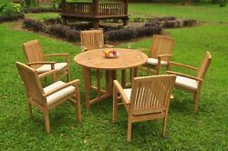 A-grade Teak 7pc Dining 48 Round Butterfly Table 6 Wave Stacking Arm Chair Set