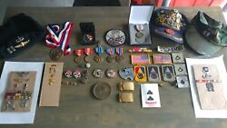 Collectible Assortment Of Military Memorabilia Medals Ribbons Patches Etc
