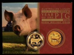 2019 100 Australian Lunar Year Of The Pig 1 Oz Gold Coin Proof - Ogp - G1116