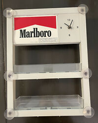 Vintage Marlboro Cigarette Retail Suction Display Pack Holder With Clock