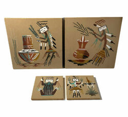 Lot Of 4 Native American Sand Paintings Signed