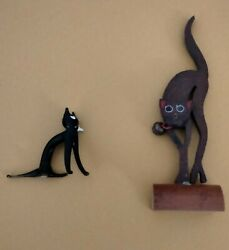 MINIATURE CATS WOODEN amp; GLASS VINTAGE FIGURINES
