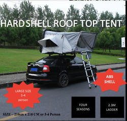 Aerodynamic Black Hard Shell Foldable Roof Top Tent Camping Rooftop 4wd 4 Person