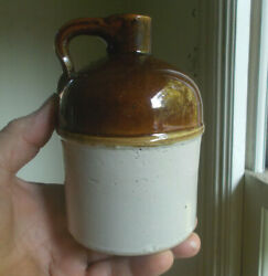 Rare Pint Redwing Stoneware Whiskey Jug With Raised Band Applied Handle 5 1/2