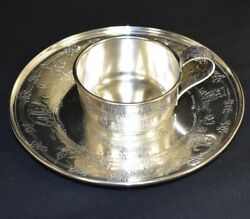Weidlich Sterling Silver Nursery Rhymes Animal Fables Baby Cup + Plate Set
