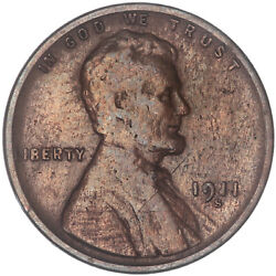 1911 S Lincoln Wheat Cent Very Good Penny Vg Old Cleaning See Pics H566