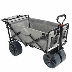 Macsports Collapsible Folding Outdoor Beach Wagon With Side Table Perfect For...