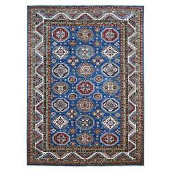 8and0399x12and039 Hand Knotted Pure Wool Super Kazak Medallion All Over Design Rug G67996