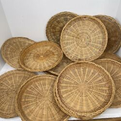13 Vintage Wicker Bamboo Paper Plate Holders Bbq Party Farmhouse Chic 9.5