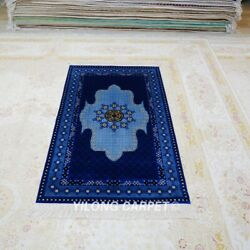Yilong 3and039x5and039 Handmade Silk Area Rug Blue Easy To Clean Unique Carpet Tj150a