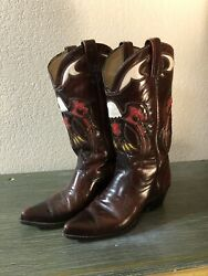 Vintage J Chisolm Eagle Cowboy Boots Circa 60's 70's Sz 8.5d Usa Made - Inlay