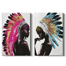Framed Native American Decor Wall Art Set, Beautiful Feathered African Indian On