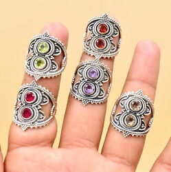 Wholesale 100 Psc Lot 925 Sterling Silver Amethyst Mix Gemstone Ring Pk1100