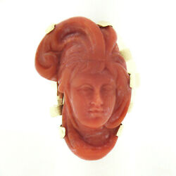 Large Vintage 14k Gold Gia No Dye Coral Carved Lady Face Cameo Statement Ring