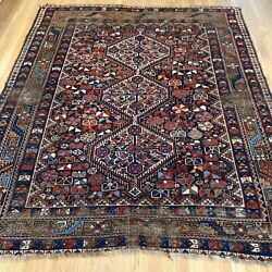 Vintage Rug 5' 8 X 7' Blue Tribal Oriental Rug Hand Knotted Farmhouse Style