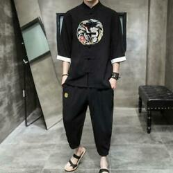 Mens 2pcs Shirts+pants Chinese Style Size Plus Cotton Silk Loose Tang Suit Youth