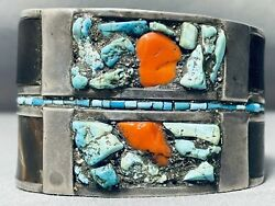 Museum Vintage Hopi Turquoise Coral Sterling Silver Bracelet With Character
