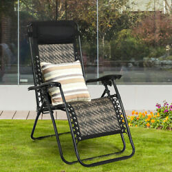 Gymax Folding Rattan Patio Zero Gravity Lounge Chair Recliner With Pillow