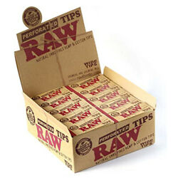 2 Boxes Raw Rolling Paper Perforated Tips Natural Unrefined Wide Tips