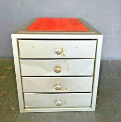 Vintage Kennedy Industrial Metal 4 Drawer Small Parts Storage Box Cabinet Gray