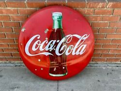 1950and039s 36 Porcelain Coca-cola Coke Button Sign With Bottle