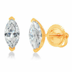 1.0 Ct Marquise Cut Studs Natural Diamond 14k Yellow Gold Earrings Screw Back
