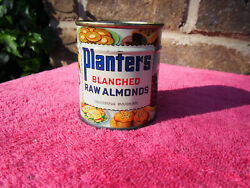 Scarce 1940s 50s Sealed Planters Unblanched Raw Almonds Can Tin Litho Mr Peanut