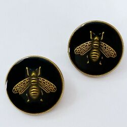 One Pair Authentic Buttons Classic Bee Metal 18mm Designer Art Buttons