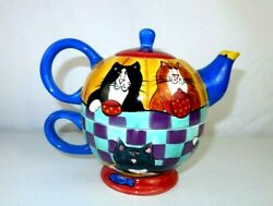 2001 Catzilla Candace Reiter 3-piece Cat Teapot Hand Painted Tea Cup For One