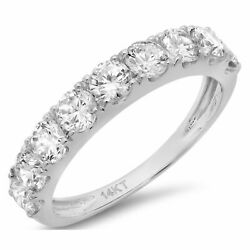 1.53 Ct Brilliant Round Cut Natural Diamond Stone 14k White Gold Stackable Band