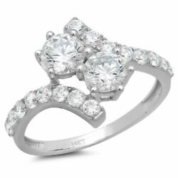 1.98 Ct Round Cut Natural Diamond Stone Solid 14k White Gold Ring