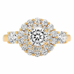 1.6 Ct Round Cut Natural Diamond Stone Solid 14k Yellow Gold Halo Ring