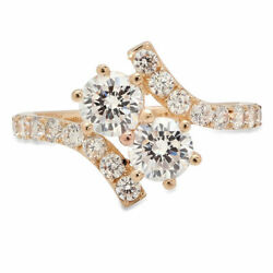 1.98 Ct Round Cut Natural Diamond Stone Solid 14k Yellow Gold Ring