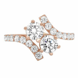 1.98 Ct Round Cut Natural Diamond Stone Solid 14k Rose Gold Ring