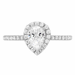 0.8 Ct Pear Cut Natural Diamond Stone Solid 14k White Gold Halo Ring