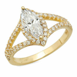 1.2 Ct Marquise Cut Natural Diamond Stone Solid 18k Yellow Gold Halo Ring