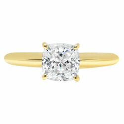 1.0 Ct Cushion Cut Natural Diamond Stone Solid 18k Yellow Gold Solitaire Ring