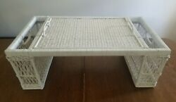 Vintage White Wicker Bed Lap Breakfast Serving Tray With 2 Side Compartments