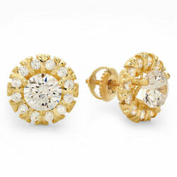 1.18ct Round Halo Studs Real Vs1 Conflict Free Diamond 14k Yellow Gold Earrings