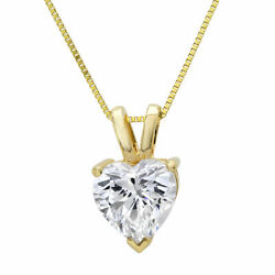 0.5ct Heart Natural Vs1 Conflict Free Diamond 14k Yellow Gold Pendant 16 Chain