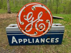 1940s Porcelain Neon G.e. Appliance Sign Double Sided Advertising