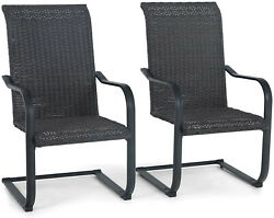 Outdoor Patio Chairs Set Of 2 Rattan Wicker Dining Chairs High Back Armchair