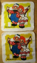 2 Vintage 1970's Raggedy Ann And Andy All Cotton Washcloths Excellent Cond. 12.5
