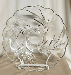 Vintage Indiana Glass Willow Wom 14 Footed Cake Torte Plate Platter Tray