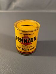 Vintage Pennzoil Motor Oil Coin Bank Metal Oil Can Gas