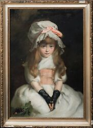 Large 19th Century English Shcool Portrait Of A Girl Wearing A White Bonnet