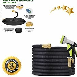 100ft Flexible Garden Hose Strength 4-layers Latex W 3/4 Solid Brass Connectors