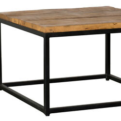 Saltoro Sherpi Square Shape Wooden Coffee Table With Iron Framework, Brown And