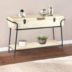 Handmade Wood And Metal Box Console Table With Removable Storage Brown And